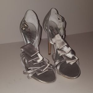 Silver Heels with Ruffles
